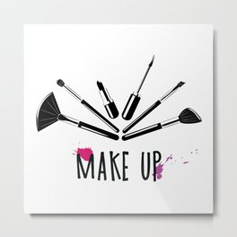 Makeup brushes and lipstick illustration Metal Print
