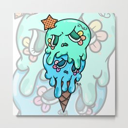 Double Scoop Sugar Skull Ice cream, green and blue Metal Print