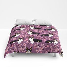 Welsh corgi tricolored cherry blossoms botanical florals japanese flowers dog breed corgis Comforters