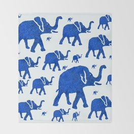 ELEPHANT BLUE MARCH Throw Blanket
