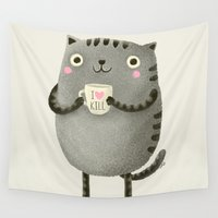 grey Wall Tapestries featuring I♥kill (brown) by Lime