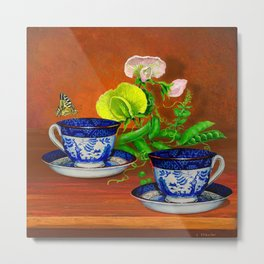 Teacups with Snap Peas Metal Print