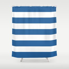 Lapis lazuli - solid color - white stripes pattern Shower Curtain