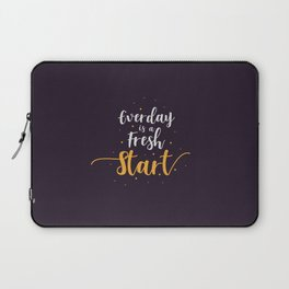 Everyday is a fresh start quote motivation typography Laptop Sleeve