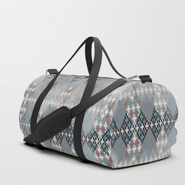 blurry diamond geo in pale teal and ochre Duffle Bag