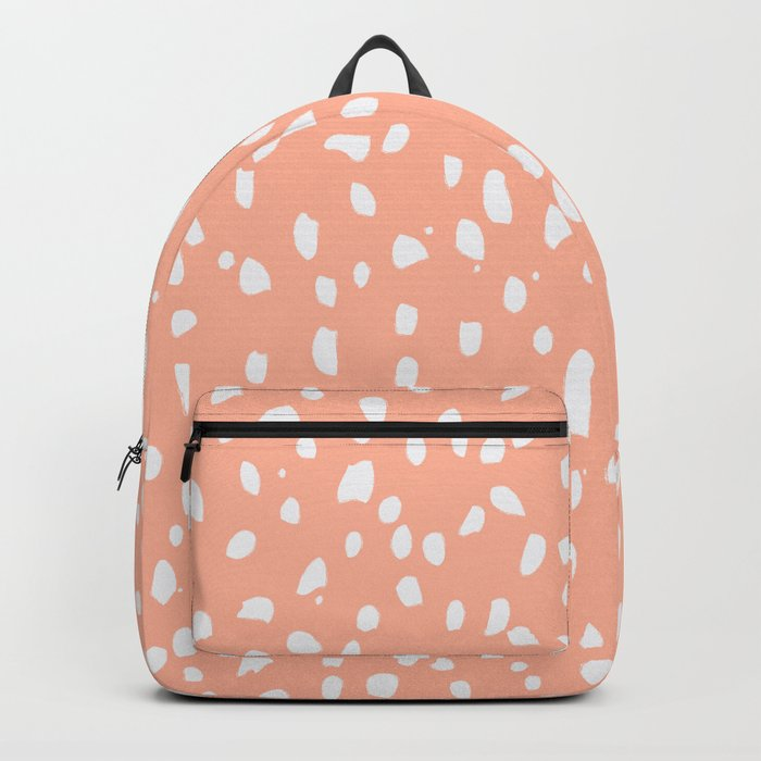 Handdrawn Polka Dot Pattern - White on Peach Rucksack