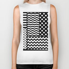 Mixed Patterns (Horizontal Stripes/Polka Dots/Wavy Stripes/Chevron/Checker) Biker Tank