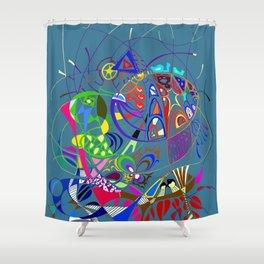 Filanes-45 couleur bleu extrude Shower Curtain