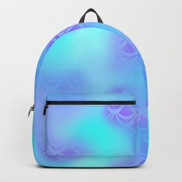 Cyan Blue and Violet Mermaid Tail Abstraction. Magic Fish Scale Pattern Backpack