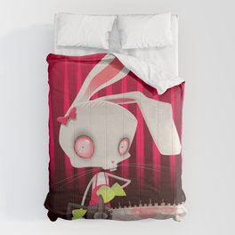 Horror bunny with chainsaw. Comforters
