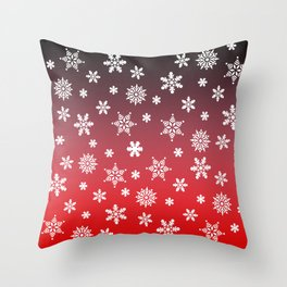 Snow Flurries-Red/Black Ombre Throw Pillow