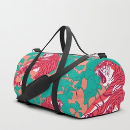 Scarlet tigers on lotus flower field. Duffle Bag