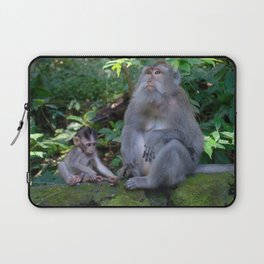 Mother and child macaques - Greg Katz Laptop Sleeve