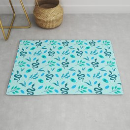 Exotic decorative snakes, little leaves serpent tropical botanical whimsical nature light blue lovely spring retro vintage pattern. Plants and reptiles. Rug