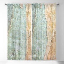 Eucalyptus Tree Bark Wood Abstract Colorful Texture Macro Sheer Curtain