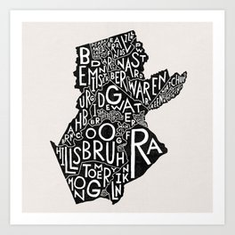 Somerset County, New Jersey Map Art Print