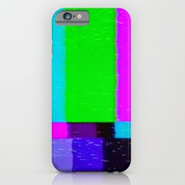 A distorted tv transmission or VHS tape, a badly eaten noisy signal of SMPTE color bars (a television screen test pattern). Vintage photo. Retro background. iPhone Case