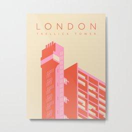 Trellick Tower London Brutalist Architecture - Text Cream Metal Print