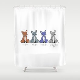 Cute Kawaii North American Fox Types Arctic Kit Red Gray Shower Curtain