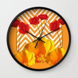 YELLOW & RED  POPPIES MODERN GOLDEN PATTERNS Wall Clock