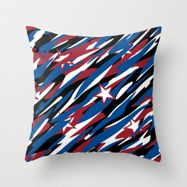 Patriotic Camouflage Red White and Blue with Stars American Pride Abstract Pattern Throw Pillow