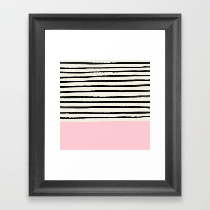 Millennial Pink x Stripes Gerahmter Kunstdruck