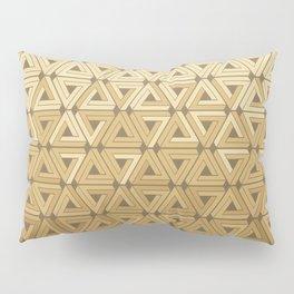 Golden Satin Geometric Pillow Sham