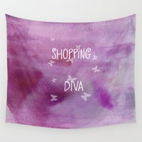 shopping Wall Tapestries featuring Shopping Diva by Judith Lee Folde Photography & Art