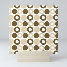 Brown Circles, Tan Dots, Pattern, Digital Design Mini Art Print