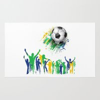 world cup Area & Throw Rugs featuring World Cup Fever by Robin Curtiss