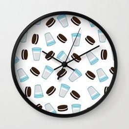Oreo and milk pattern Wall Clock