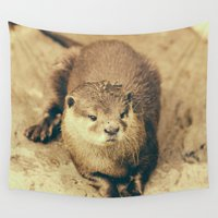 otter Wall Tapestries featuring Cute Otter by Pati Designs