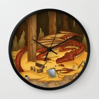 smaug Wall Clocks featuring Smaug, the last dragon by danielasynner