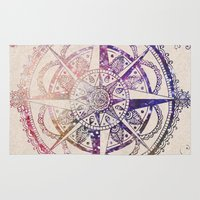 mandala Area & Throw Rugs featuring Voyager II by Jenndalyn