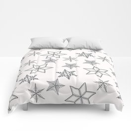 Grey Snowflakes On White Background Comforters