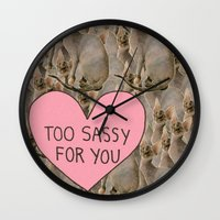 sassy Wall Clocks featuring Sassy Cats by Skrinkladado