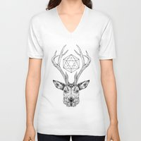 stag V-neck T-shirts featuring Stag by Andy Christofi