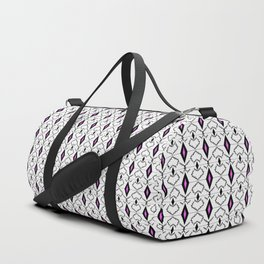 Black and white,with bright pink accents pattern. Duffle Bag