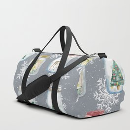 Christmas Jars Grey Duffle Bag