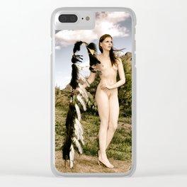 2827 Statuesque Desert Terrain Nude ~ SurXposed ~ Classic Painteresque Girl in a Desert Landscape. Clear iPhone Case