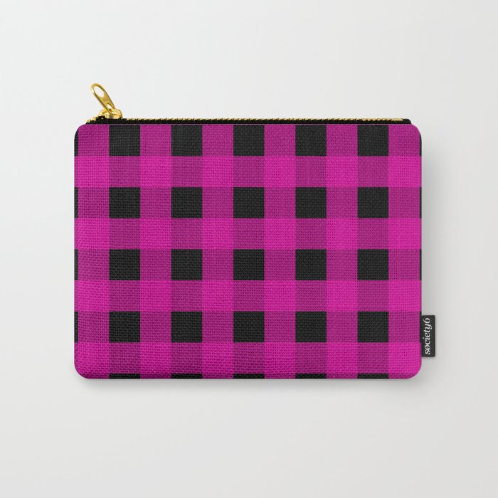 Magenta and Black Check Carry-All Pouch