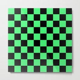 Black and Green Checkerboard Pattern Metal Print