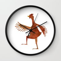 chicken Wall Clocks featuring Chicken by Jade Young Illustrations