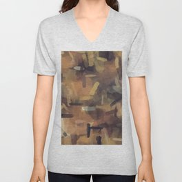 splash painting texture abstract background in brown Unisex V-Neck