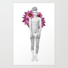 Boy & Flowers Art Print