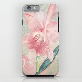 Cattleya Malouana Orchid - Pink Orchid Collage Art - Vintage Orchid Collage iPhone Case