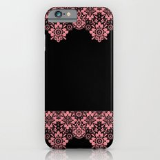 Retro .Vintage . Pink lace on a black background . Slim Case iPhone 6s