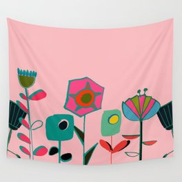 Mid century flowers pink Wall Tapestry