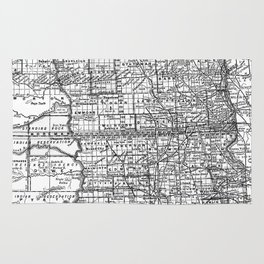 Vintage Map of North and South Dakota (1891) BW Rug