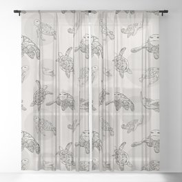 Sea Turtle Pattern - Vintage Sheer Curtain